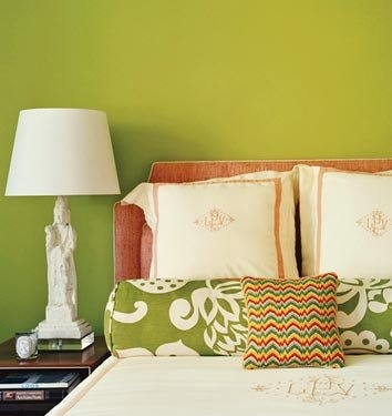 Preppy/Eclectic Monogrammed bedding: Decor, Ideas, Green Wall, Wall Color, Paint Colors, Bedrooms, Master Bedroom, Green Room