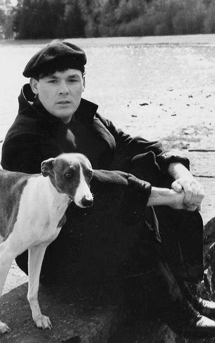 Billy Mackenzie and one of his beloved whippets