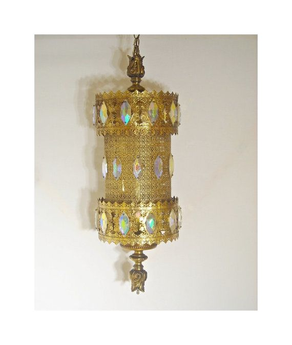 Mid Century Swag Lamp: Mid Century Swag Lamp Light Gold Filigree Prisms Moroccan