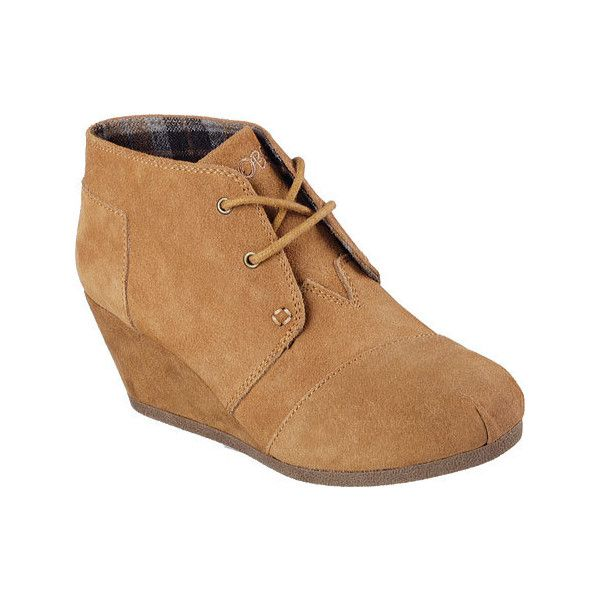 Women's Skechers BOBS High Notes Behold Wedge Ankle Boot - Chestnut... ($58) ❤ liked on Polyvore featuring shoes, boots, ankle booties, brown, wedge ankle booties, wedge booties, lace up wedge bootie, brown wedge boots and brown lace up booties