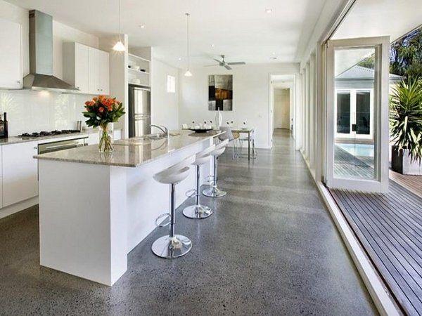 polished concrete floors modern white kitchen minimalist white kitchen design