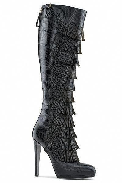2010 Fall Black Sergio Boots Winter Rossi Fringed Heeled High shoes PAwBwY8qx