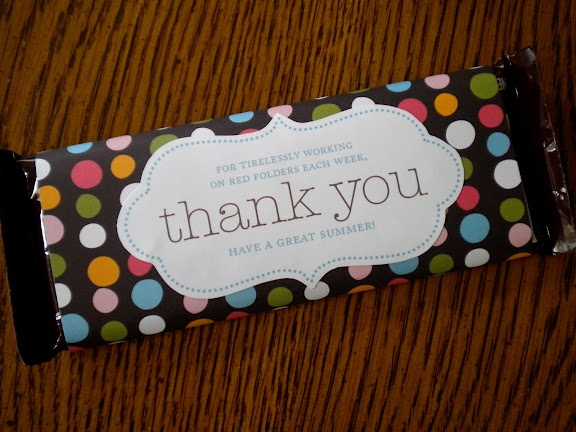 Cute Volunteer Appreciation Project. We love the idea of paper wrapped chocolate bars. You could personalize!