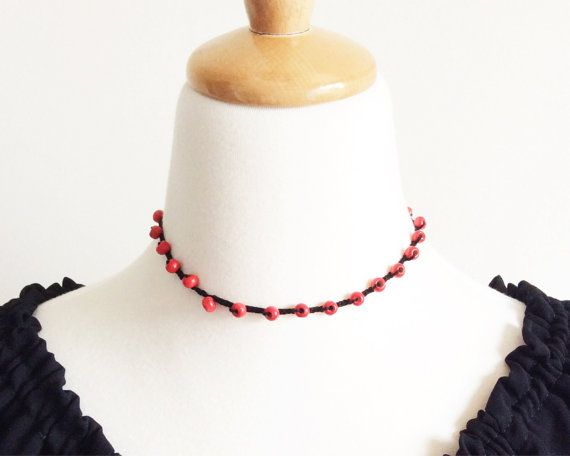 Red and Black Crochet Necklace