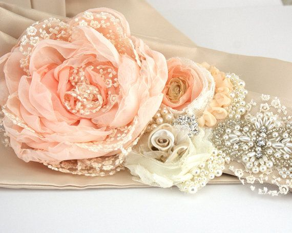 Ideas for a homemade Bridal Sash - Wedding Sash in Peach, Ivory and Champagne- Vintage Inspired with Lace, Chiffon Pearls- Pearl Queen