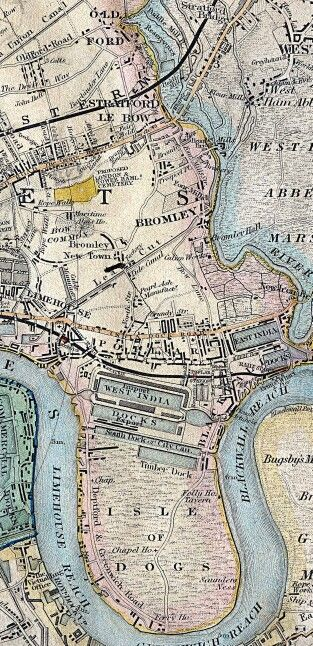 1840 map Poplar, Bromley by Bow, Isle of Dogs London