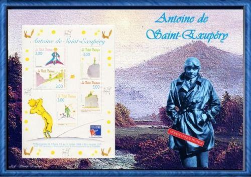 Antoine de saint-exupéry écrivain, peintre, poète #JFBstamp #SaintExupéry #aviateur #montagephoto #philatélie #modèleunique #madeinFrance #bloc #décoration #cadeaudeNoël