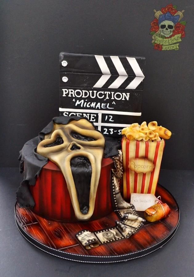 Scream Movie Themed Cake - Not a fan of the movies, but this is a pretty cool cake!