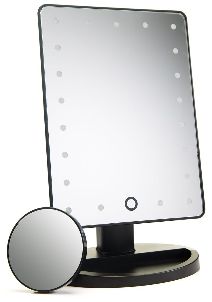 Natural Daylight Lighted Makeup Mirror / Vanity Mirror with Touch Screen Dimming, Detachable 10X Magnification Spot Mirror, Portable Convenience and High Definition Clarity Cosmetic Mirror. THE COSMETIC TOUCH - Dimmable touch screen LED lighted makeup mirror with lights that dim as you press and hold your finger on the touch sensitive button to help you get exactly the right amount of 'natural daylight replicating' light to touch-up your makeup or apply fake lashes. MIRROR, MIRROR ON THE...