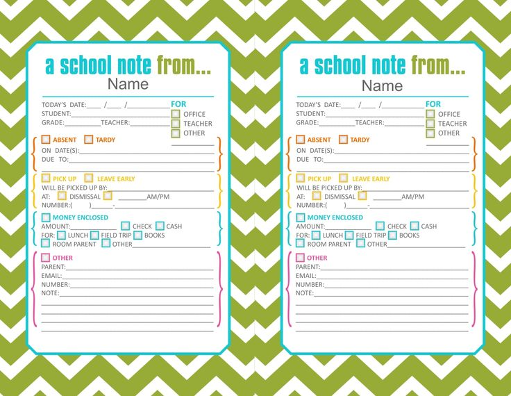 green cute printable school notes if your little on is