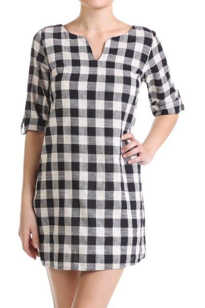 *** Gingham Shirt Dress *** Gingham Shirt Dress, button latch design plaid dress with vent neckline.