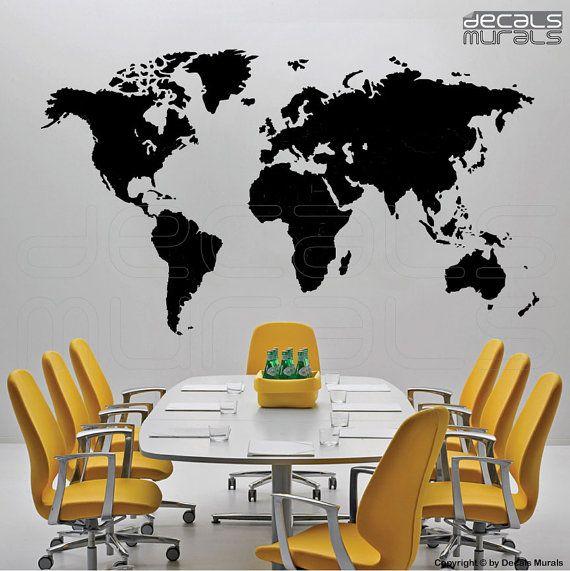 Wall decals DETAILED WORLD MAP Vinyl art stickers by decalsmurals, $67.00