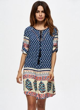 Cotton Polka Dot Half Sleeve Above Knee Casual Dresses (1037191) @ floryday.com