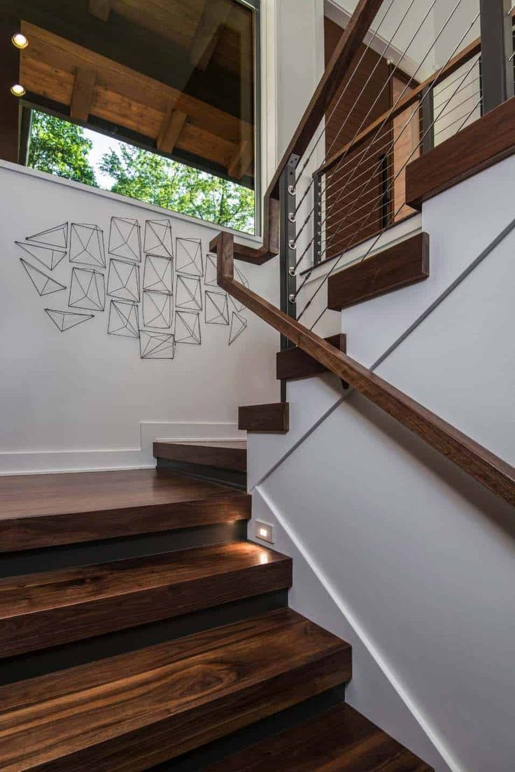 Inviting Modern Mountain Home Surrounded By Forest In North Carolina Modern Staircase Modern Mountain Home Rustic Staircase