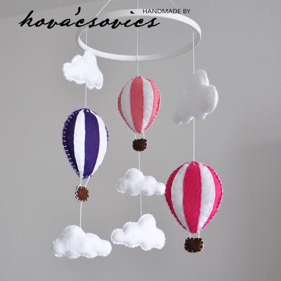 Crib mobile  Nursery decoration  Hot air balloons  by kovacsovics