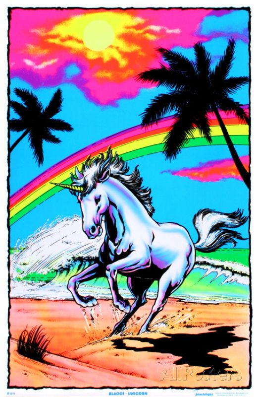 Decorate your room with blacklight posters for the biggest impact. Galloping Unicorn with Rainbow Flocked Blacklight Poster Art Print is that perfect piece that matches your style, interests, and budget.