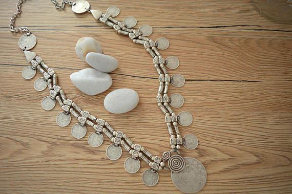 Bohemian Gypsy Nomad Coin Statement Necklace Ethnic Tribal