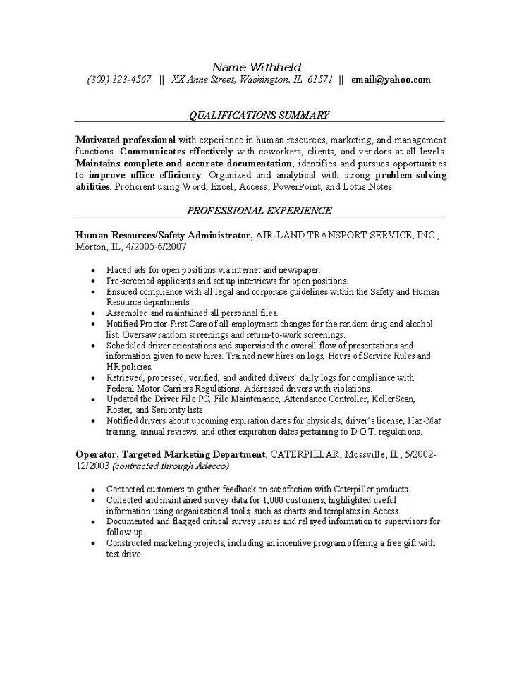 High Quality Resume Examples For Safety Professionals | Human Resources Resume Example: Sample  Resumes For The HR