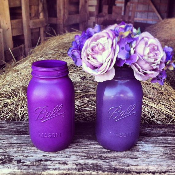 Mason Jar Centerpiece Plum Purple Wedding by DownInTheBoondocks, $7.00