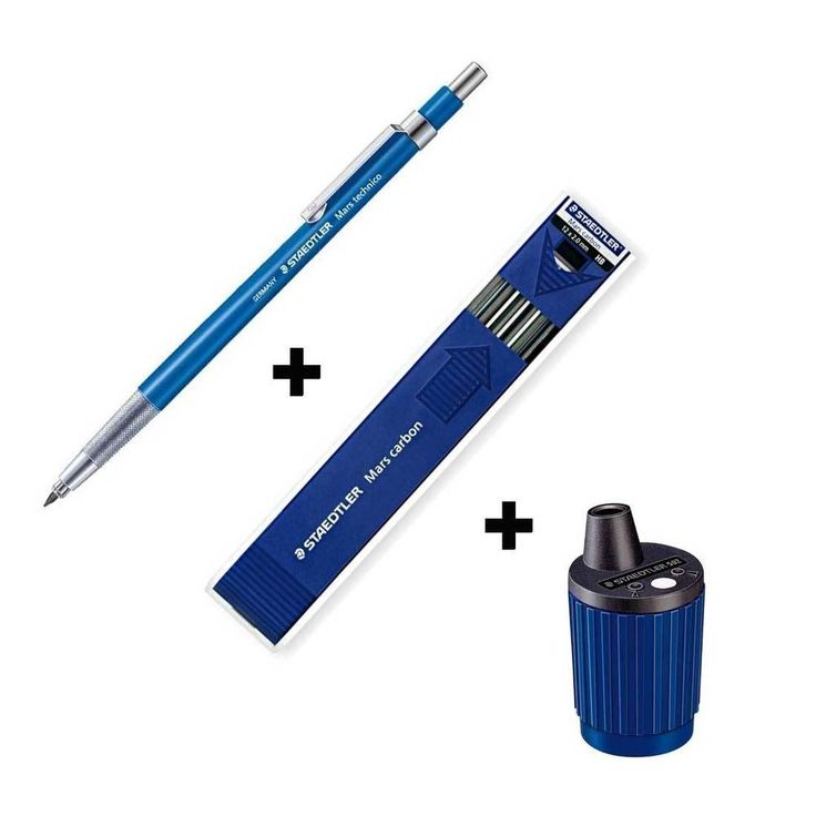Staedtler Lead Holder 780C+Mars Carbon HB+Sharpener 2.0mm Mechanical Pencil Gift #STAEDTLER