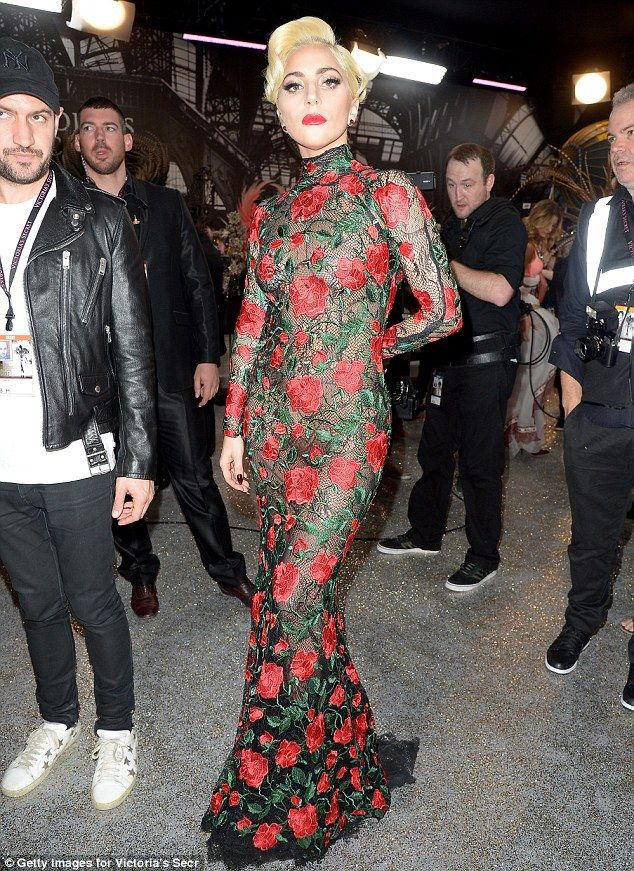 Flower power: Lady Gaga was up to her old tricks once again as she pulled off not one but five costume changes as she performed at the Victoria's Secret Fashion Show on Wednesday in Paris