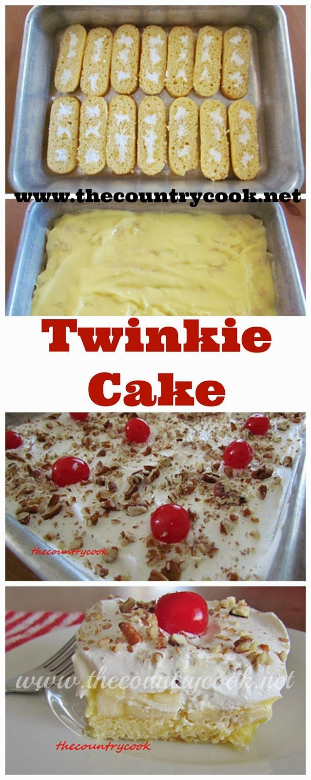 Twinkie Cake recipe from The Country Cook. A super fun, no-bake dessert that everyone loves. It's a little indulgent but the kids and adults LOVE it! #desserts