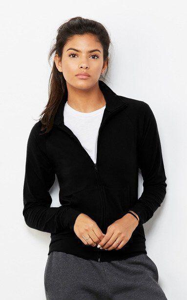 Bella+Canvas B807 - Cotton Spandex Cadet Jacket(https://www.tshirtideal.ca/bella-canvas-cotton-spandex-cadet-jacket-b807.html?utm_content=bufferf4323&utm_medium=social&utm_source=pinterest.com&utm_campaign=buffer)  The women's cadet jacket features a relaxed fit, front zipper closure, long raglan sleeves, cadet collar, front kangaroo pocket and cotton spandex fabrication, making it ideal for an active #lifestyle