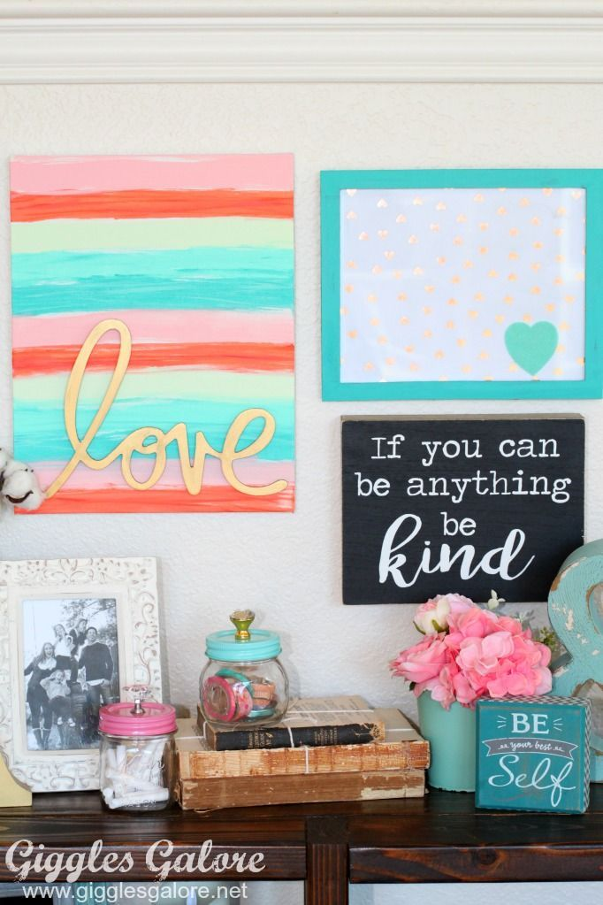 DIY hand painted word art canvas for gallery wall