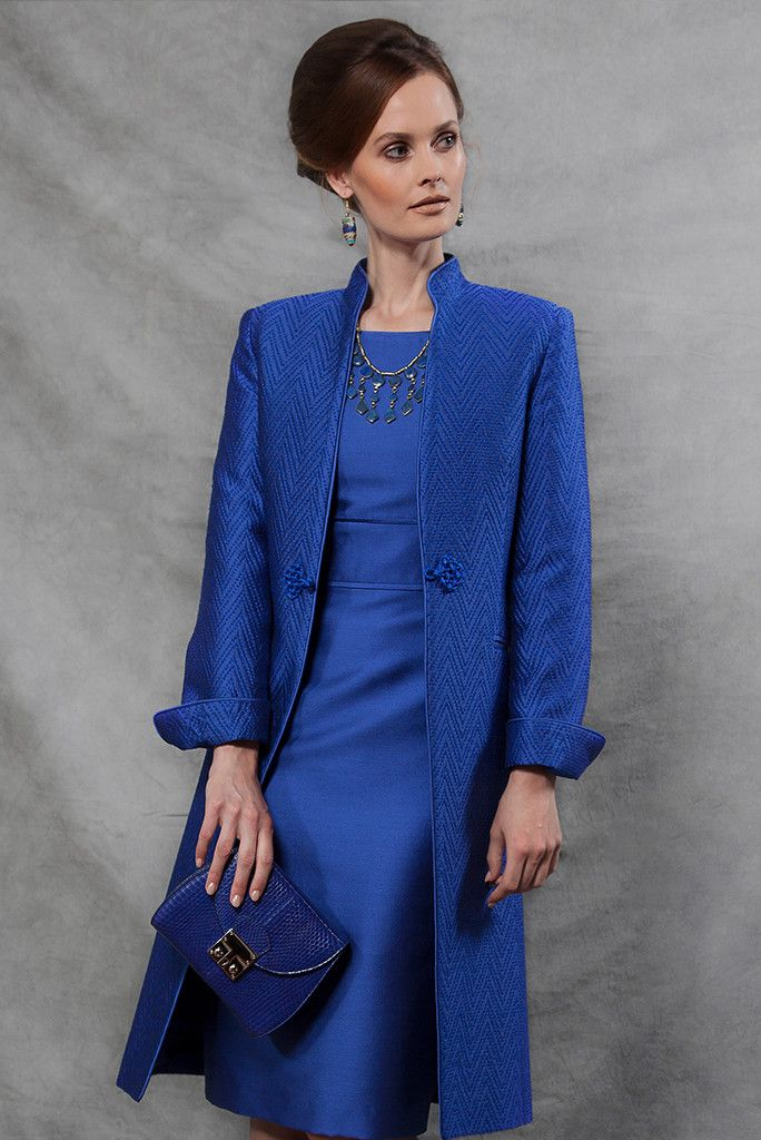Chevron Dress Coat in Sapphire - Vicky