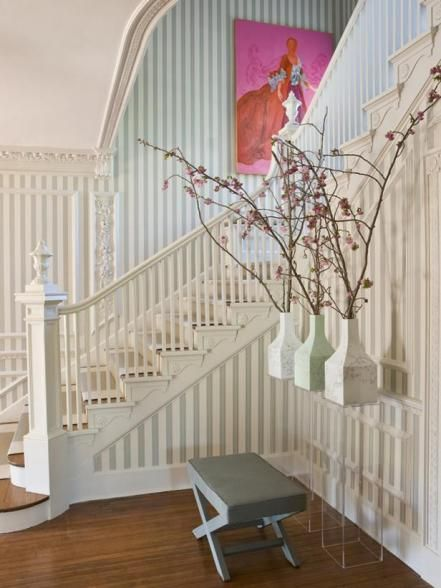 Learn how to install chair-rail style molding in a stairwell.