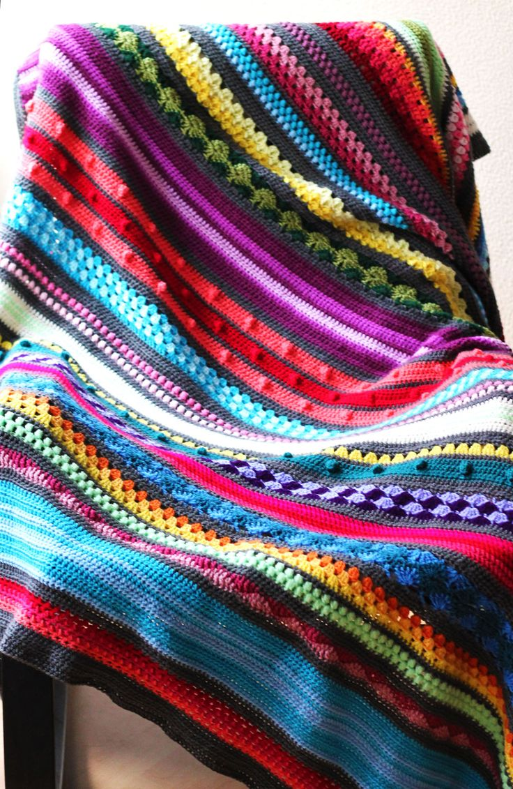 Sampler Stripe Blanket Crochet Again