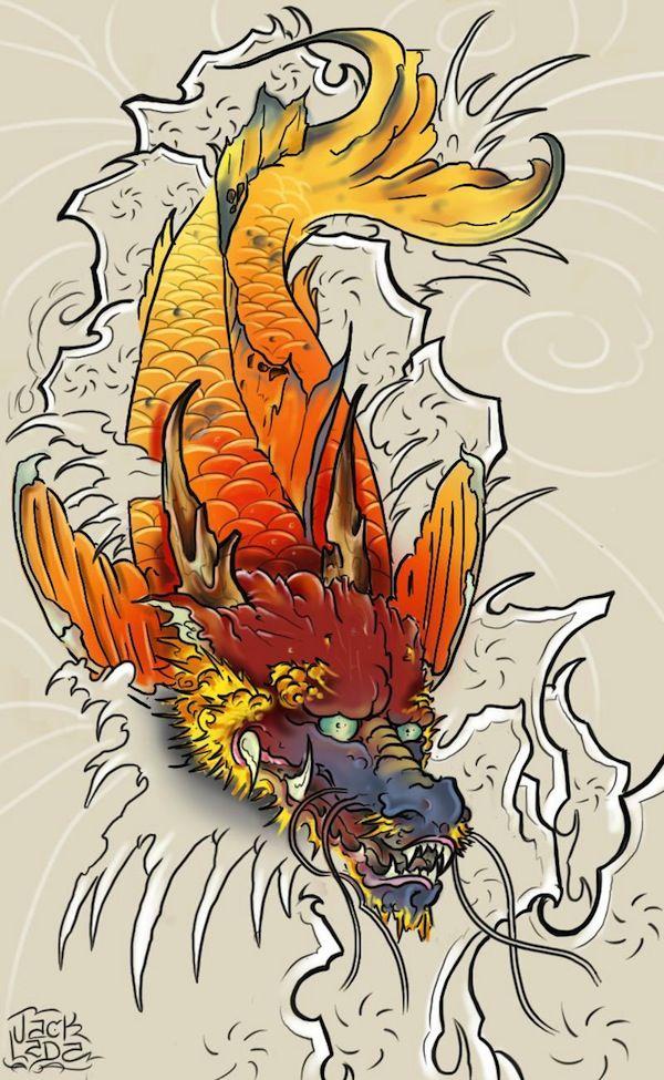 17 best ideas about koi dragon tattoo on pinterest for Dragon koi fish