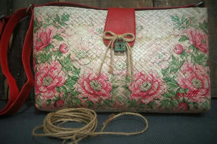 Lovely Decoupage on Pandan mix leather