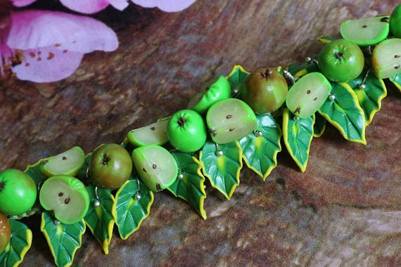 Check out this item in my Etsy shop https://www.etsy.com/listing/539055343/polymer-clay-bracelet-green-apples