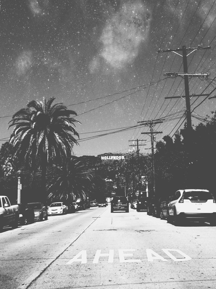 California, Hollywood, Road, Black & White Photography