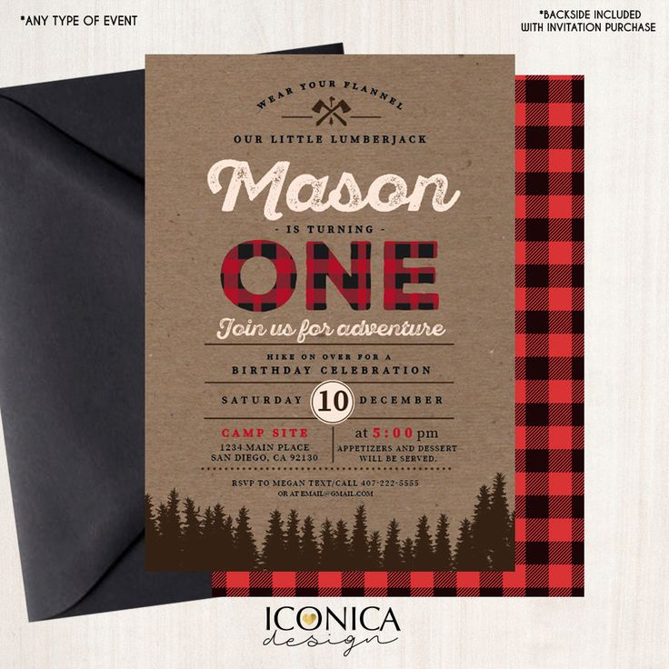 first birthday invitation template india%0A Christmas cards LumberJack First Birthday Invitation Plaid Wilderness  Camping Holiday Invitation  Printed or Printable File