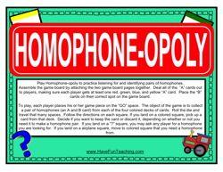 homophone monopoly, homophones activity, homophones game, grammar board games, language arts board game, language arts center, games for learning homophones