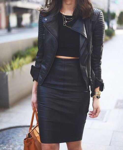 #pencilskirt #croptop #leatherjacket