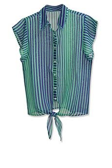 Green Blue Striped Blouse