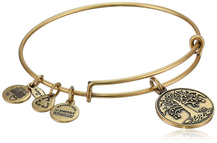 "Alex and Ani Bangle Bar ""Tree of Life"" Rafaelian Gold Finish Expandable Bracelet:"