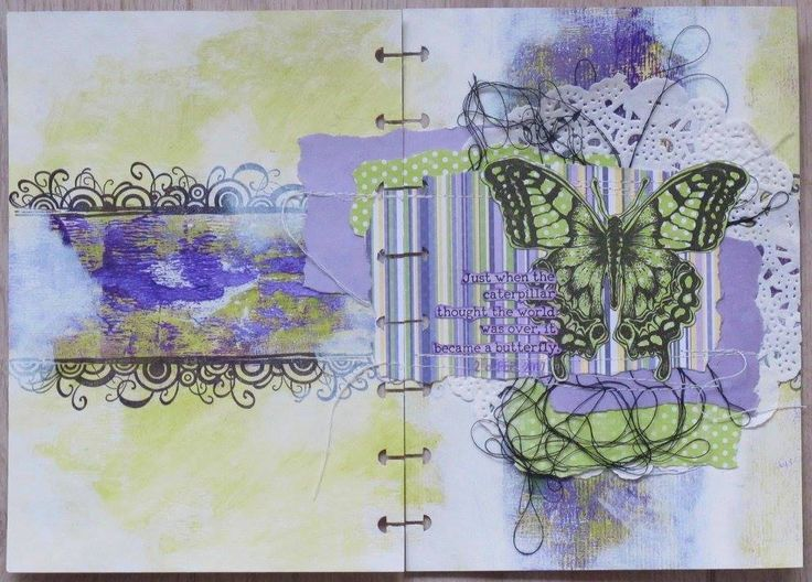 Round Robin Art Journal spread. Use a brayer