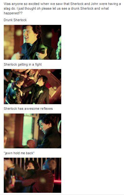 *spoilers* [gif set] Sherlock 3×02 – The Sign of Three. John's stag night. drunk!sherlock drunk!johnlock