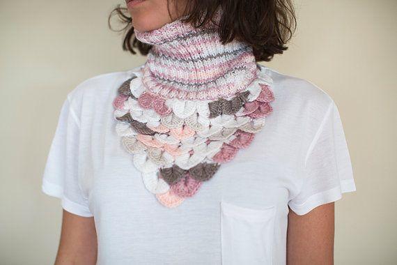 Crochet Neck Warmer, Crochet Shawl, Pink and Grey Neck Warmer , Bubblegum Pink