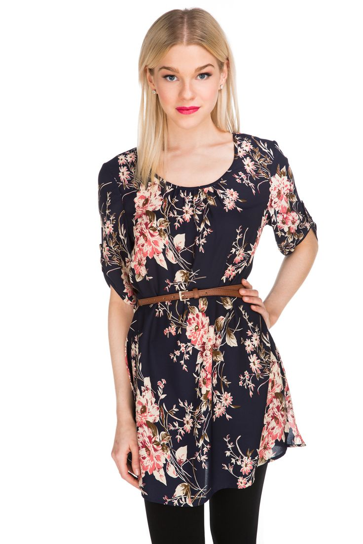 Floral Belted Shift Dress