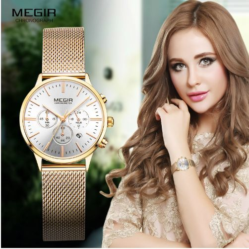 Megir Women's Chronograph Luminous Hands Date Indicator Stainless Steel Mesh Strap Quartz Wrist Watches Lady Rose Gold