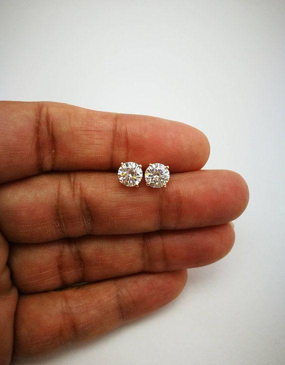 1 Ct Diamond Stud Earrings Women S Diamond Solitaire Etsy Diamond Solitaire Earrings Classic Earrings Diamond Earrings Design