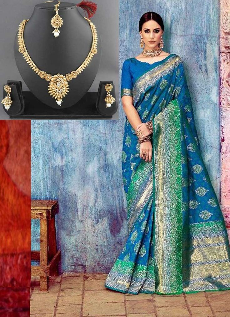 Blue Handloom Silk Sarees With Free Beautiful Necklace Set