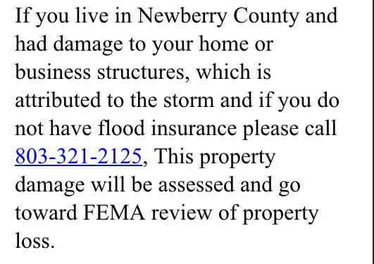 IMPORTANT: #SCfloodWIS10 info for Newberry County residents! #SCFlood