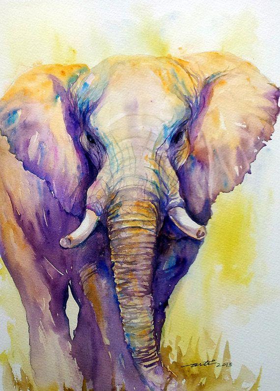 Original Art Painting Elephant Animal Paintings Wall Art Watercolor wildlife art purple wall decor