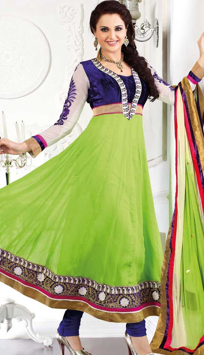 Green Chiffon Bridal Wear